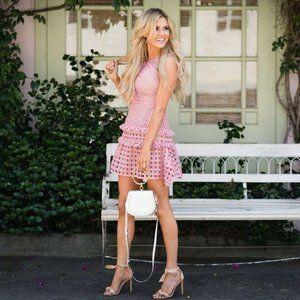 Self-Portrait Crosshatch Lace Dress Pink Guipure